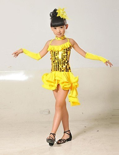 5a5c7886e AIU Latin Dance Children's Polyester/Lycra Sequins Tassel Outfit(Red/Black/Blue/Yellow)  Kids Dance Costumes , nude-110 , nude-110: Amazon.co.uk: Clothing