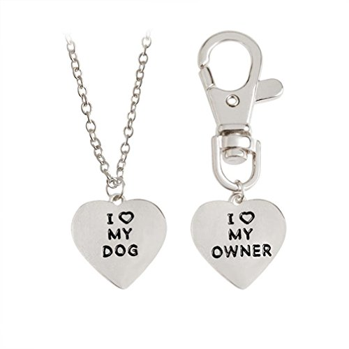 4EAELove Engraved BFF Necklace Keychain Heart Bone Matching Necklace Collar ID Tag Dog Human Dog Lover Gifts Set Pet Lover Silver Plated