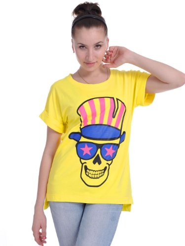 Anna-K S/M Fit Yellow Skull Patriot Punk Inspired Pretty Vacant Esque T-Shirt