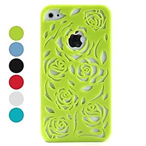 AES - Hollow-out Style Flower Pattern Hard Case for iPhone 4 and 4S (Assorted Colors) , Red