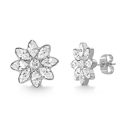 Devin Rose Flower Shaped Stud Earrings for Women Made With Swarovski Crystal in Rhodium Plated Brass