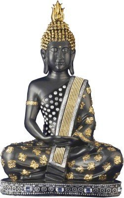 Genius Collection Sitting Bhudha Meditation Pose Big Diamond Studded Polyresin Showpiece (50 Cm, Black And Golden)
