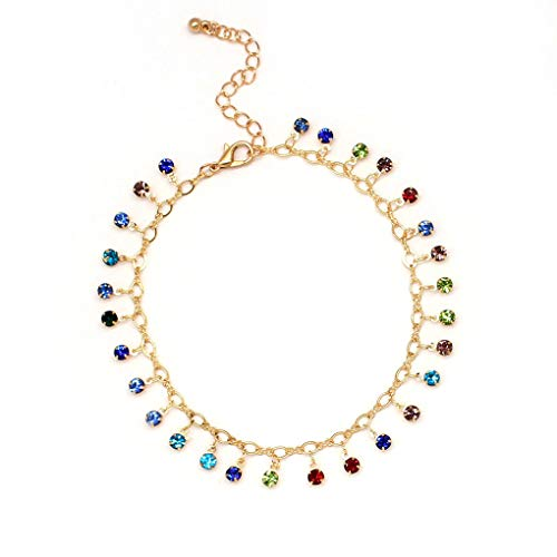 Yalice Dainty Crystal Anklets Ankle Colorful Dangle Foot Chain Bracelet Beach Jewelry for Women and Girls - Anklet Dangle