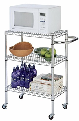 21″ Deep x 30″ Wide x 39″ High Chrome Kitchen Cart For Sale