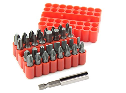 YXGOOD 33 Piece Chrome Vanadium Steel Screwdriver Bit Set with Plastic Storage Case ()
