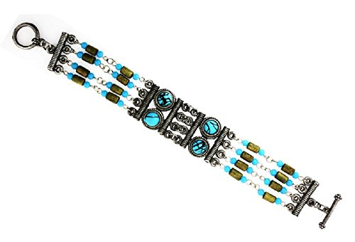 Hand Crafted Simulated Turquoise,Wood Beads Toggle Clasp Bracelet