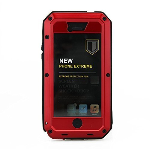iPhone 5C Case,Gorilla Glass Luxury Aluminum Alloy Protective Metal Extreme Shockproof Military Bumper Heavy Duty Cover Shell Ca