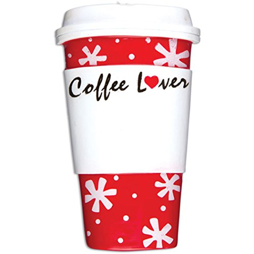 Personalized Coffee Lover Cup Christmas Tree Ornament 2019 - Red Snowflakes Heart Caffeine Addict Fun Gift First Starbucks Girl-Friend Boy Latte Cappuccino Café Barista Year - Free Customization ()