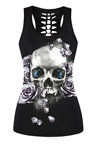 FISACE Women's Skull Print Hollow Out T-shirt Crew Neck Sleeveless Plus Size Tank Top – Small, Black