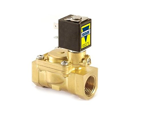 Sirai L182BB033B12AF3 Brass Body Pilot Operated General Service Solenoid Valve, 3/8'' Pipe Size, 2-Way Normally Closed, Nitrile Butylene Sealing, 17/32'' Orifice, B12A DIN Coil, 2.89 Cv Flow, 12V/DC
