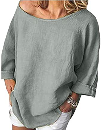 flywinner Womens Casual Cotton Linen Blouse Plus Size Long Sleeve T-shirts Grey XS