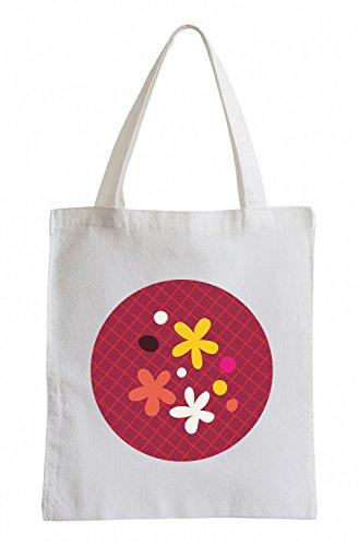 Raxxpurl Piccoli fiori scuri nei circoli Fun sacchetto di iuta
