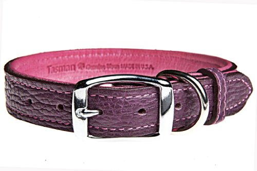 Tasman's Natural Pet Premium Tucson Bison Leather Dog Collar - Purple, Pink Lined, - Premium Tucson