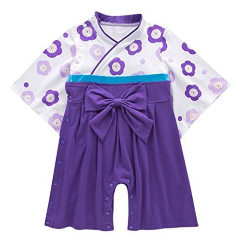 Infant Baby Girls Flower Kimono Bow Romper Traditional Costumes Japanese Clothes Purple ()