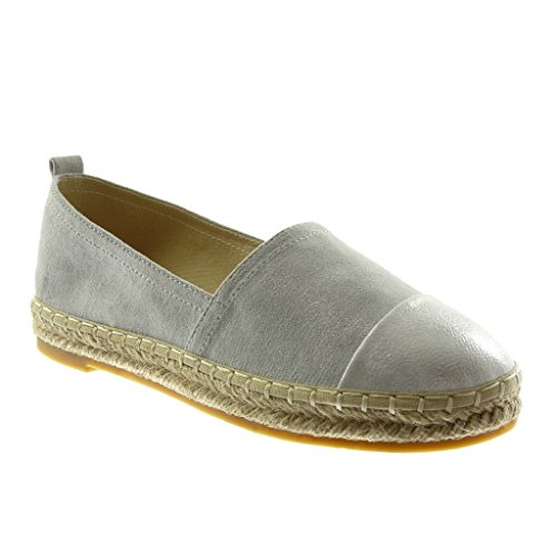 Angkorly Women's Fashion Shoes Espadrilles - Slip-on - Bi Material - Grained - Cord Block Heel 2.5 cm Silver ZesZd
