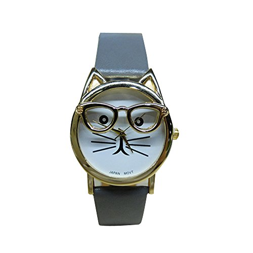 - Womens Quartz Watch COOKI Clearance Cat Analog Female Watches Lady Watches on Sale Leather Watch-H82 (Gray)