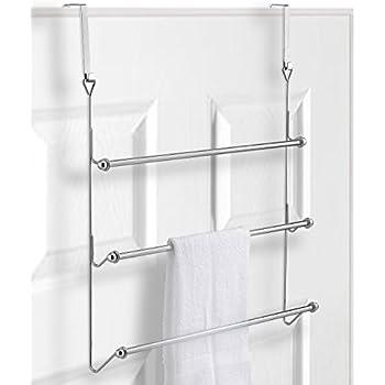 Over The Door 3 Tier Bathroom Towel Bar Rack With Chrome Plated Finish