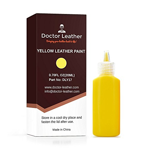 Doctor Leather | Yellow Leather Paint | Non Toxic Premium Grade | Use to Restore and Repair Your Yellow Leather Items | for Handbags, Car Seats, Couches, Sofas, Boats, Jackets and Shoes (Seat Vinyl Yellow)