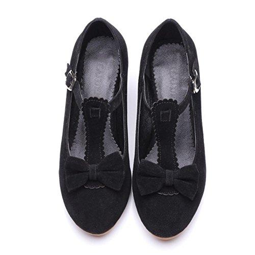 COOLCEPT Mujer Moda Correa en T Boca Baja Zapatos Tacon Bombas Zapatos con Bowknot Negro
