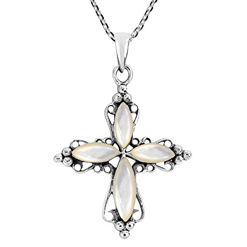 - AeraVida Elegant Swirling Cross with White Mother of Pearl .925 Sterling Silver Pendant Necklace