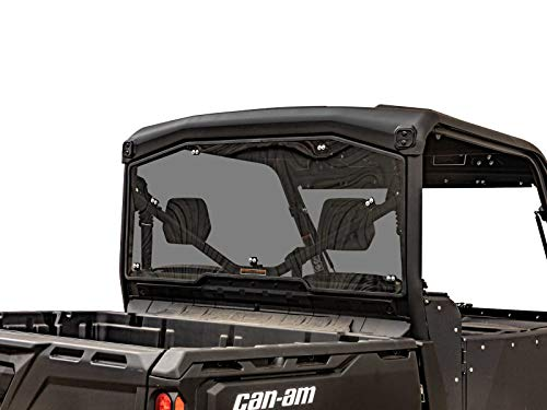 SuperATV Heavy Duty Rear Windshield for Can-Am Defender HD 5/8 / 10 / MAX (2016+) - Dark Tinted Standard Polycarbonate - Easy to Install!