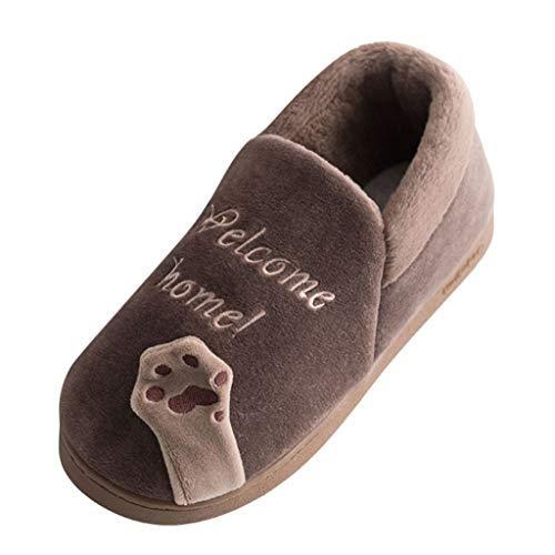 Sale! Teresamoon Men Winter Home Slippers Cartoon Cat Non-Slip Warm Indoors Bedroom Floor Shoes