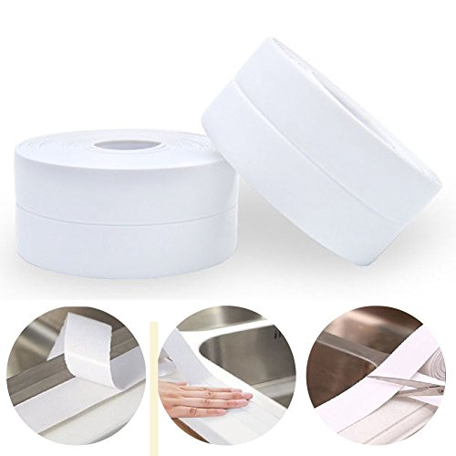 Bathroom Sink Mold - Homipooty PE Bathtub Strip Seal Used For Bathroom Kitchen, Shower Toilet Wall Sealing, Flexible Peel and Stick Caulking Tape Surround Waterproof Decorative Sealer, 1-1/2 Width X 11 Feets Long - White