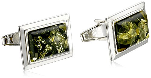 Men's Sterling Silver Green Amber Rectangular Classic Cuff Links ()