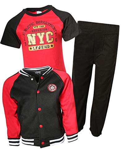 (Quad Seven 3-Piece Fashion Pant Set, Jacket, T-Shirt, and Pants, Black - Red Twill, Size 4')