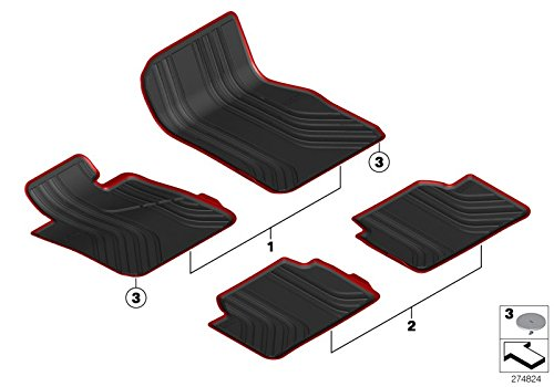 BMW Genuine All Weather Rubber Floor Mats Rear Anthracite 4 Series 51472350421
