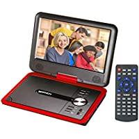 GJY 9.8  Portable DVD Players,Swivel Screen,Built-in Rechargeable Battery,Support USB/SD/Game/MP3,Full Function Remote (Red)