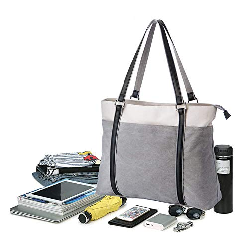 School Tote and Bag Work Business Canvas Coolqiya Man Woman Handbag Light Gray for Shoulder Laptop HA58w