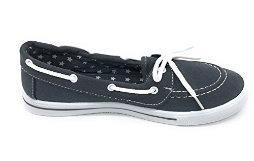 Round EASY21 Shoe Sneaker up Comfy On Canvas Gray Flat Blue Berry Boat Tennis Lace Toe Slip 6wqxTSF5