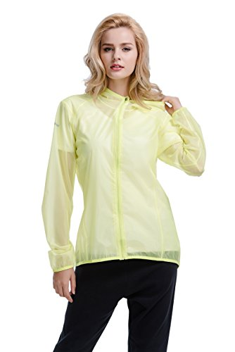 CYZ Women's Ultralight Wind Shell Water Proof Running Jacket - Bike Jacket-Yellow-S