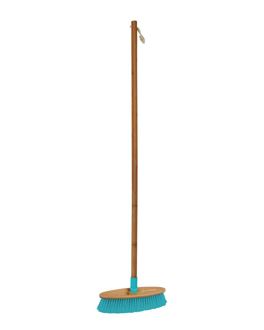 Boston Warehouse Bamboo Soft Broom, Turquoise, Green House Collection by