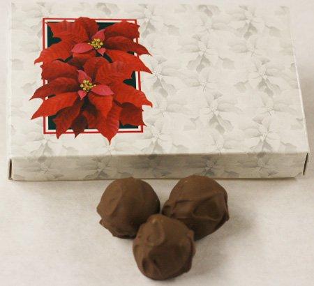Scott's Cakes Milk Chocolate Covered Grapefruit Truffles in a 8 oz. Poinsettia Box