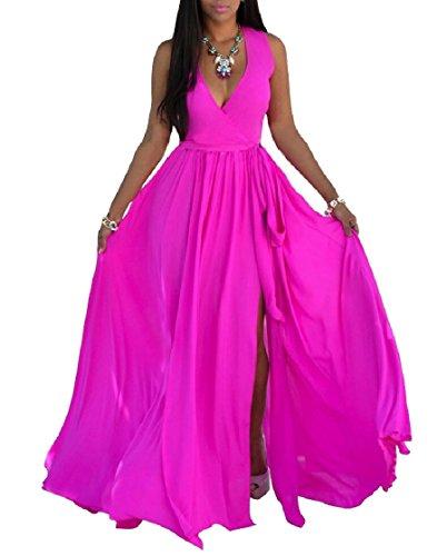Jaycargogo Des Femmes De Plage Flowy Solide Style Profond Col V Grande Robe Divisé Maxi En Mousseline De Soie Pendule Rose Rouge