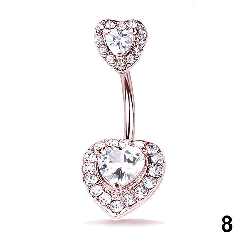1 Pcs Navel Belly Button Ring Glitter Love Heart Mermaid Fish Scale Piercing Jewelry Navel Nail HSJ88 8 (1 Cent Belly Button Rings)