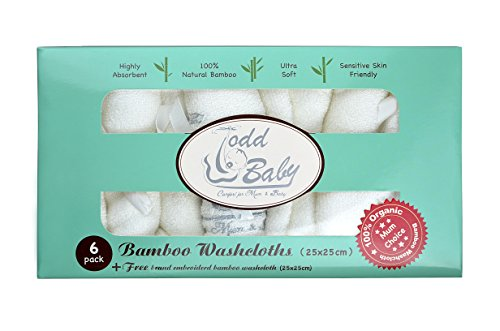 Todd Linens Soft Natural Bamboo Baby Newborn Bath Face Washcloths Towel White | Perfect for Baby Registry Shower Gifts | for Sensitive Skin