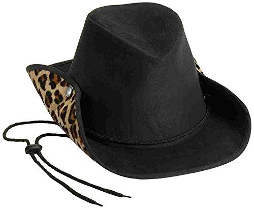 [Forum Novelties Men's Novelty Adult Suede Cowboy Hat, Black/Leopard, One Size] (Leopard Cowboy Hat)