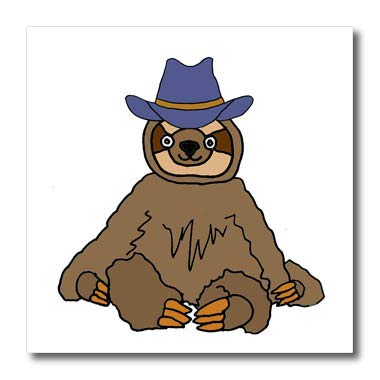 34cac6802ce Image Unavailable. Image not available for. Color  3dRose All Smiles Art  Animals - Funny Sloth Wearing Cowboy hat ...