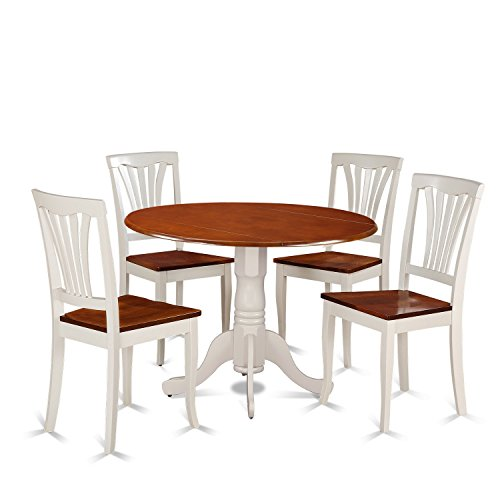 East West Furniture DLAV5-BMK-W 5 Piece Dining Table and 4 Kitchen Chairs Dublin Set