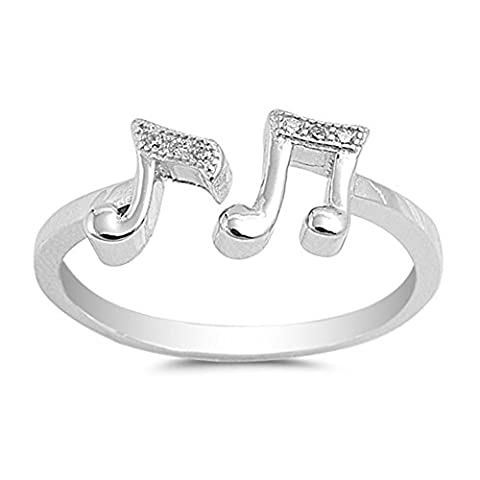 White CZ Open Music Note Ring .925 Sterling Silver Band Size 9 (RNG15688-9) (Elegant Music Rings)