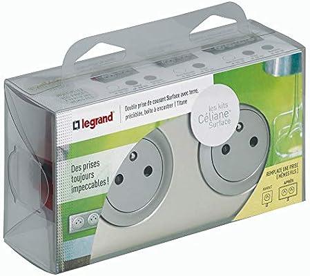 Legrand Celiane LEG200221 - Kit de base de enchufe doble (precableada, con caja de empotrar), color gris: Amazon.es: Bricolaje y herramientas