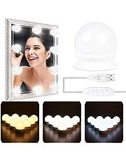 AutoWT Luces Para Espejo, Kit de 10 Bombillas de Intensidad Regulable de Estilo de Hollywood LED Espejo para Maquillaje, Espejos de Mesa Lámparas del Espejo del Baño de Dimmable del Brillo para el Tocador, 3 Tipos de Brillo Ajustables, USB Alimentado