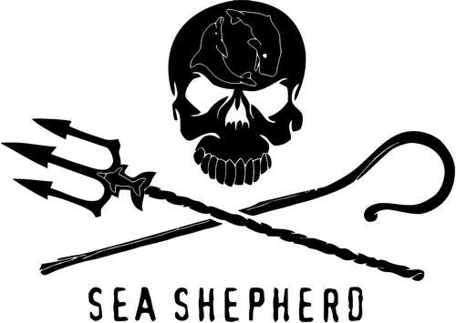 Mandy Graphics Sea Shepherd Anti Whailing Death Skull Vinyl Die Cut Decal Sticker for Car Truck Motorcycle Windows Bumper Wall Home Office Decor Size- [6 inch/15 cm] Wide and Color- Gloss Black (Sea Die Cut Stickers)