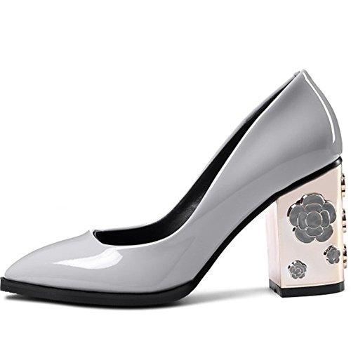 cheap sale big sale buy cheap authentic Nine Seven Patent Leather Women's Pointy Toe Chunky Heel Handmade Dress Graceful Pumps with Flowers Grey best place cheap price discount visit new dyDRTWB
