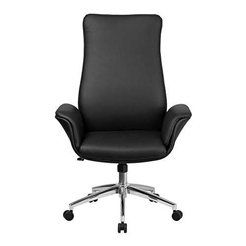 Offex OFX-447691-FF Mid-Back Leather Executive Swivel Chair with Flared Arms – White
