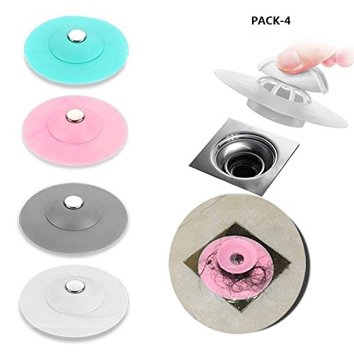 Multifunctional Drain Stopper - Bath Tub Drain Plug, Sink Strainers Protectors, Shower Drain Cover, Hair Catchers for Floor, Laundry, Kitchen and Bathroom, Pack 4 /Silicone by Dr.Jony