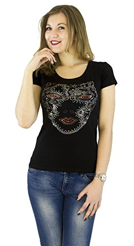 Fashion Women's t-Shirt With Sequins Cute Sparkly Applique Mask Womens Applique